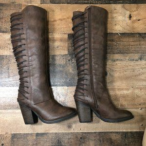Mossimo Lace Up Knee High Heeled Boots 6